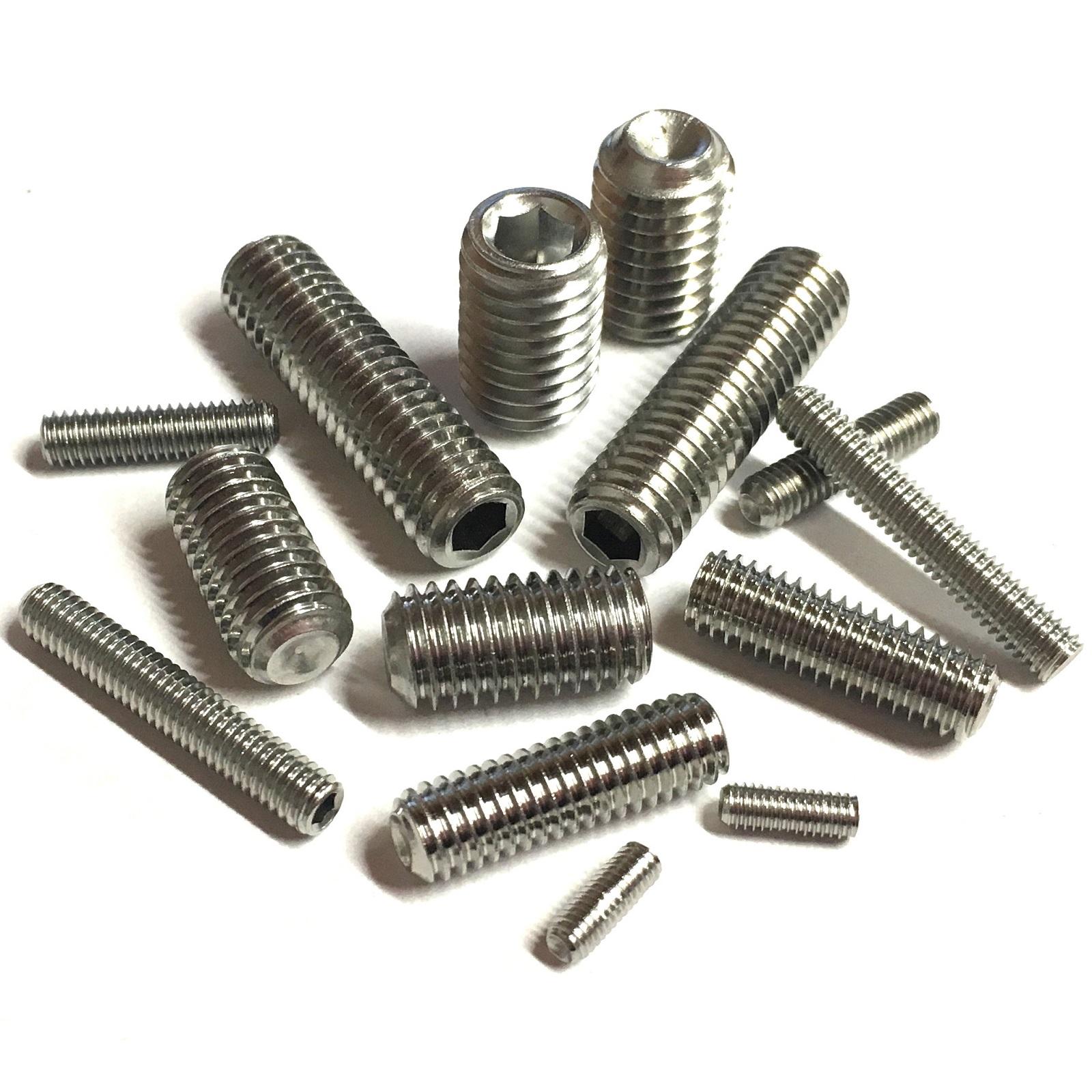 A2 Stainless Steel Setscrews DIN 916 4mm 5mm 6mm Socket Cup Point Grub Screws