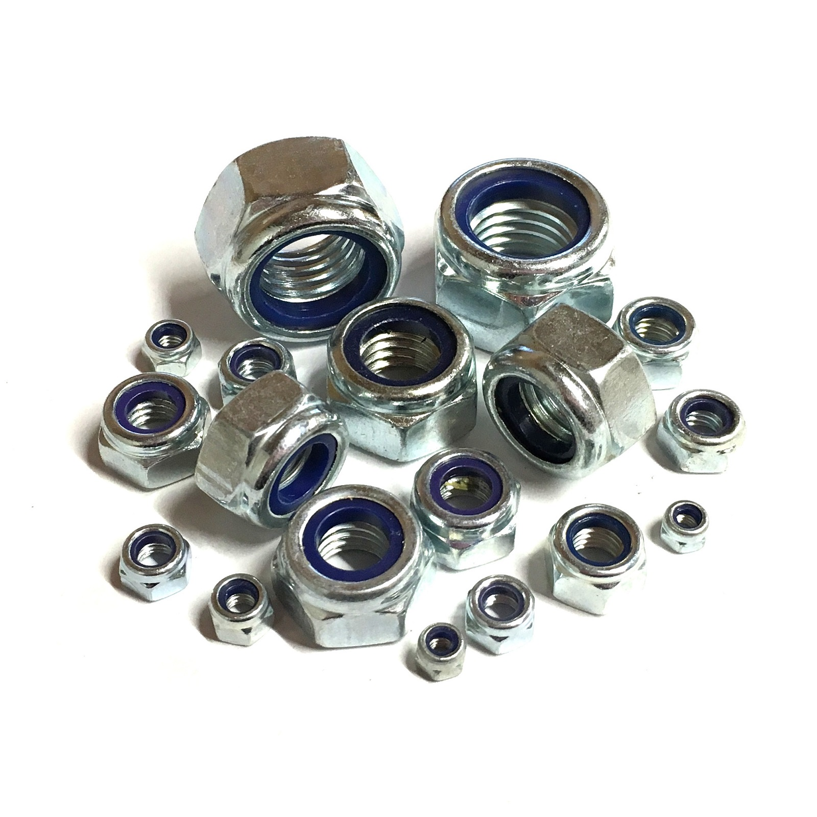 """10 Pack Zinc Plated 7//16/"""" UNF Nyloc Nuts Nylon Inserts BZP"""